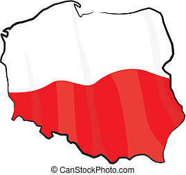Poland - map and flag - outline of Poland with national...