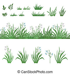 Grass and flowers, seamless, and sets