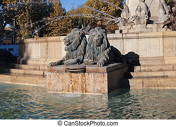 Lions of Fountain Rotonde 1860 Aix-en-Provence, France -...