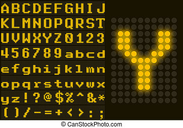 Yellow dotted LED display letter set