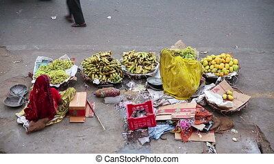 Street vendors - Everyday scene with street vendors and...