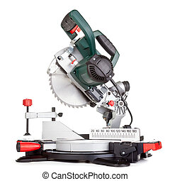 Miter saw isolated - Power chop saw on white background