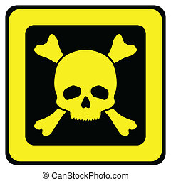 Yellow danger sign with skull vector illustration