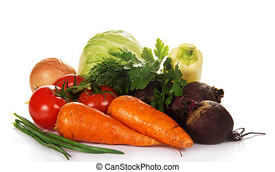 set of vegetables - Cabbage, carrots, beet, tomatoes,...