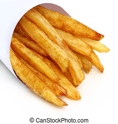 French fry - Close up of French fry over white background