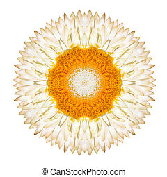 White Straw Mandala Flower Kaleidoscopic Isolated on White...