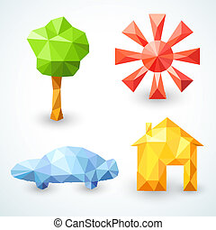 House, car, tree and sun icons set. Vector illustration
