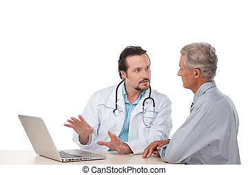 Adult doctor talking to old patient Showing something on...