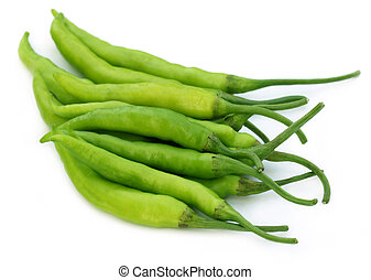 Group of fresh green chilies