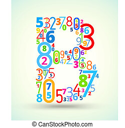 Letter B, colored vector font from numbers