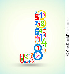 Letter J, colored vector font from numbers - Letter J, from...