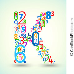 Letter K, colored vector font from numbers - Letter K, from...