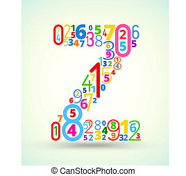 Letter Z, colored vector font from numbers