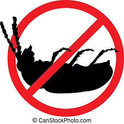 Stop pests - Dead bug vector silhouette isolated. Insect...