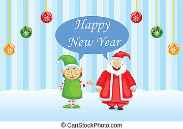 Happy New Year - easy to edit vector illustration of Santa...