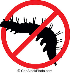 Stop pests - Worm vector silhouette isolated. Insect...