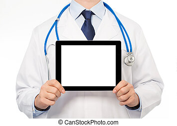 The doctor in a white coat with a stethoscope holding tablet...