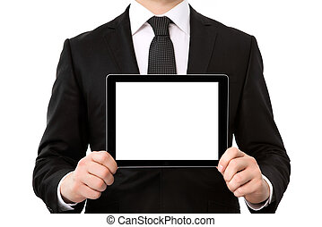businessman holding a tablet computer with isolated screen