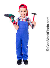 Little handyman with drill and hammer - Happy little...