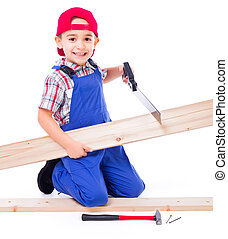 Little handyman cutting board with saw - Little handyman...