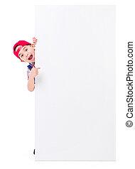 Little handyman showing blank billboard