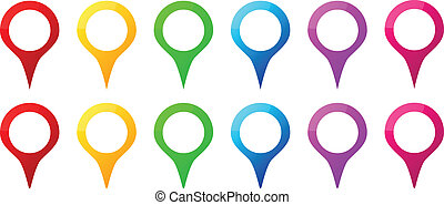 Colored Map Pins Icons For Gps Map Location Vector...