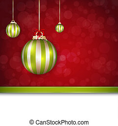 Merry Christmas card in green and red colors