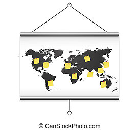 Projector screen map world and note