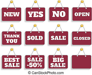 Shopping sign board set