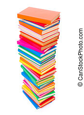 Colorful stacked books - Top view of stacked colorful books...