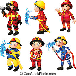 Firemen - Illustration of the firemen on a white background