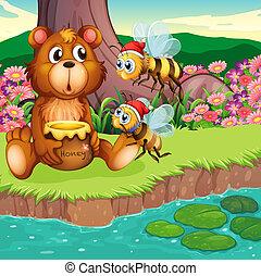 A big bear and bees at the riverbank