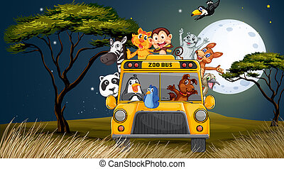 A bus near the trees full of animals