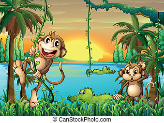 à, Jezioro, krokodyle, małpy, interpretacja