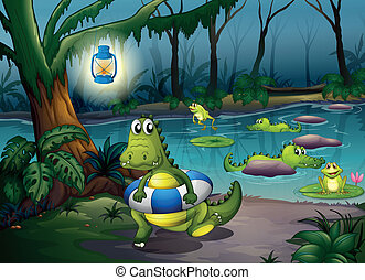 Alligators at the pond in the forest - Illustration of the...