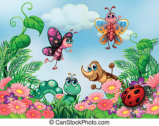 A garden with insects - Illustration of a garden with...