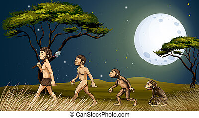 Animals and humans - Illustration of the animals and humans