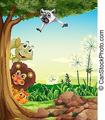 Animals hiding - Illustration of the animals hiding