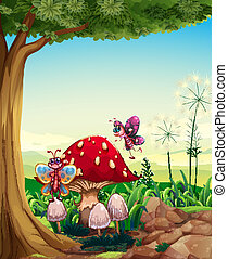 A big mushroom near the tree with butterflies - Illustration...