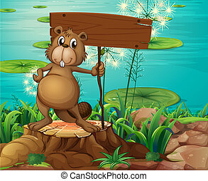 A beaver above the stump holding an empty signboard -...