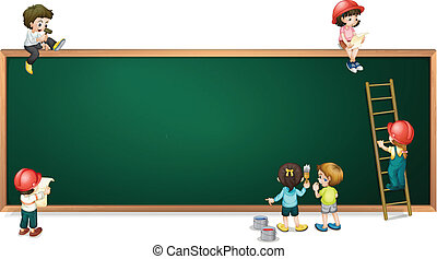 Kids around the empty greenboard - Illustration of the kids...