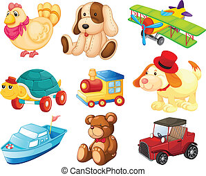 Different toys - Illustration of the different toys on a...