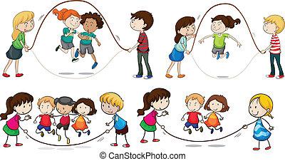 dzieci, interpretacja, skaczący, związać