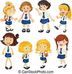 Eight schoolgirls in their uniforms - Illustration of the...
