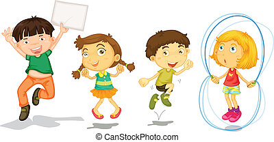 Active kids playing - Illustration of the active kids...