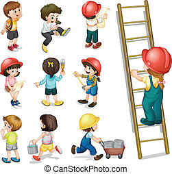 Kids working - Illustration of the kids working on a white...