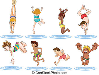 Different kids enjoying the water - Illustration of the...