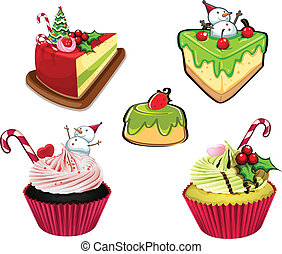 Baked desserts for christmas - Illustration of the baked...
