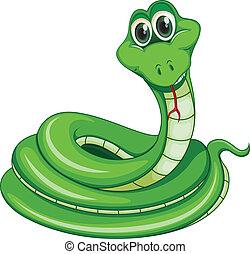 A green snake - Illustration of a green snake on a white...