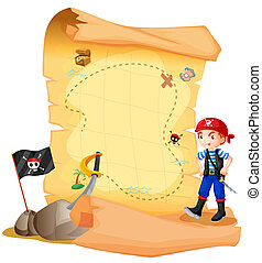 A treasure map with a young pirate